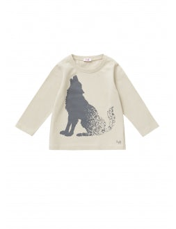 T-SHIRT - BEIGE WITH GREY WOLF PRINT