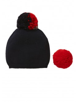 Blue tricot hat with interchangeable pom-poms
