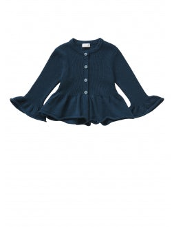 Blue tricot cardigan with tulip sleeves