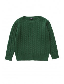 Green braid cable stitch wool little sweater