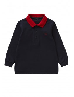 Red and blue two-tone polo shirt with long sleeves