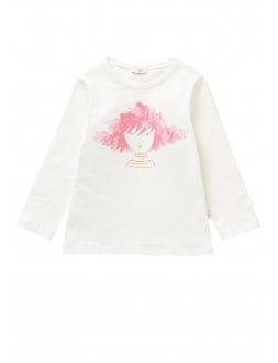 T-shirt with a girl with shocking pink hair motif