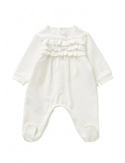 Playsuit with ruffles - white