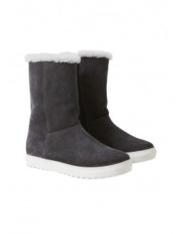 Suede leather boots with dinosaur detail - grey