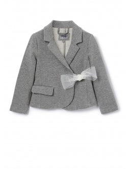 Grey fleece blazer with tulle bow