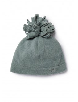 hat with grey pom-pon