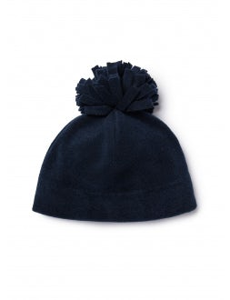hat with blue pom-pon