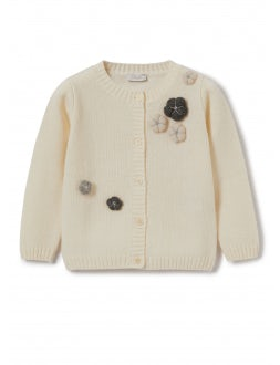 Milk-coloured wool sweater with puff flowers