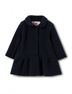 Flared navy blue fleece coat