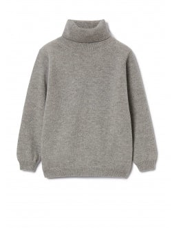 Cloud grey superfine wool turtleneck