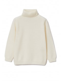 Natural superfine wool turtleneck