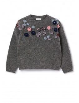 Asphalt colour sweater with flowers