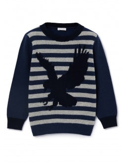 Blue and grey sweater with eagle
