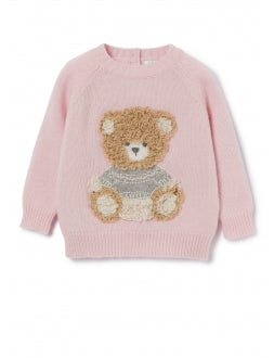 Pink wool sweater with teddy bear