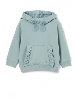 Sweatshirt with hood and ruffles