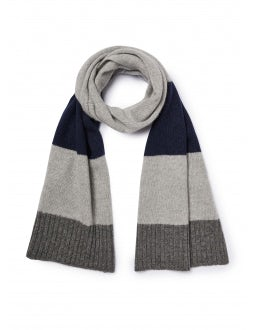 Grey and blue striped wool scarf