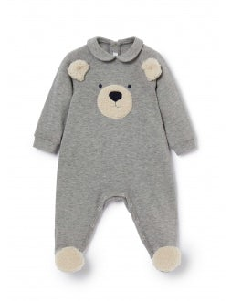 Teddy bear plush feet onesie