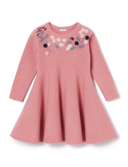 pink wool dress with embroideries