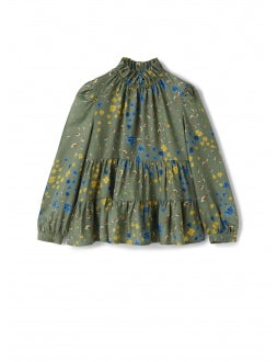 Green floral shirt with flounces