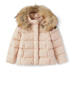 Short pink down jacket with fur