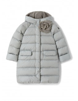 Long grey down jacket with application