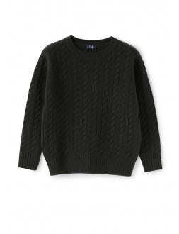 Anthracite wool sweater with braids