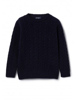 Blue wool sweater with braids