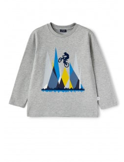 Grey cotton t-shirt with cyclist print