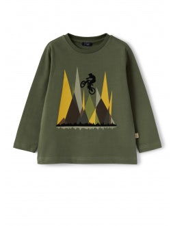 Green cotton t-shirt with cyclist print
