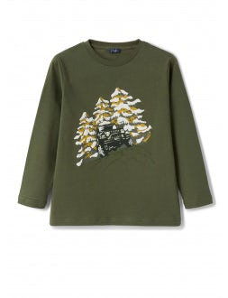 Gren cotton t-shirt with jeep print