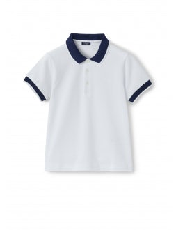 white polo shirt with contrasting profiles and collar