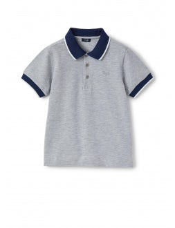 blue polo shirt with contrasting profiles and collar