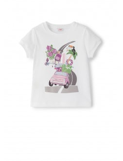 short sleeve t-shirt with print of a car loaded with objects