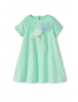 short sleeve dress with flower application