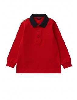 Red polo shirt with navy blue collar