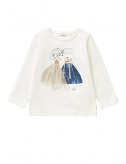 T-shirt with little girls in tulle dresses