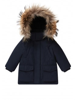Blue parka with fur