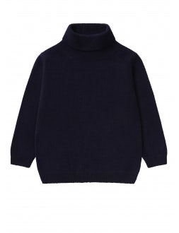 Blue superfine wool turtleneck