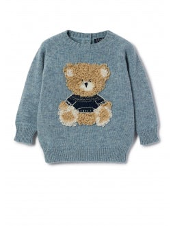 Sky wool sweater with teddy bear