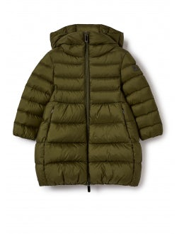 Military green long down jacket