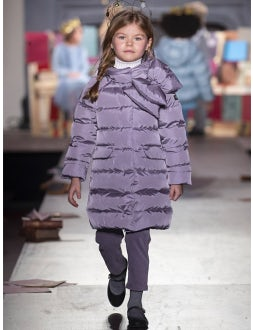 Mauve long down jacket with maxi bow