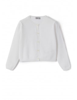 white sweater with front button closure