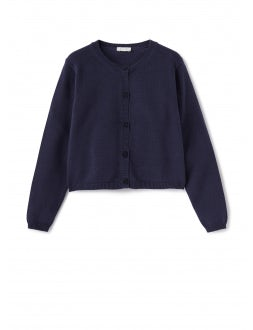 blue sweater with front button closure