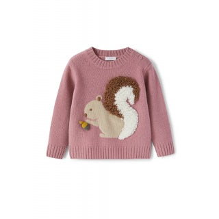 Pink wool sweater with squirrel
