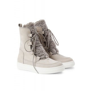Nubuck and curl ankle boot