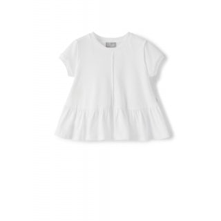 white trapeze t-shirt with flounce
