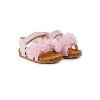 nappa sandal with applied tulle