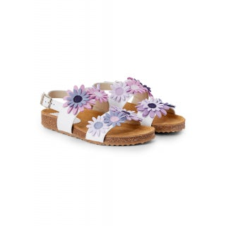 nappa sandal with double band and applied flower