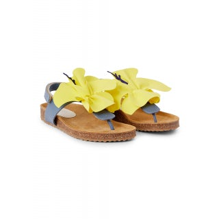 nappa sandal with applied flower