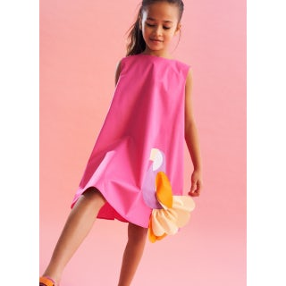 sleeveless dress with toucan application